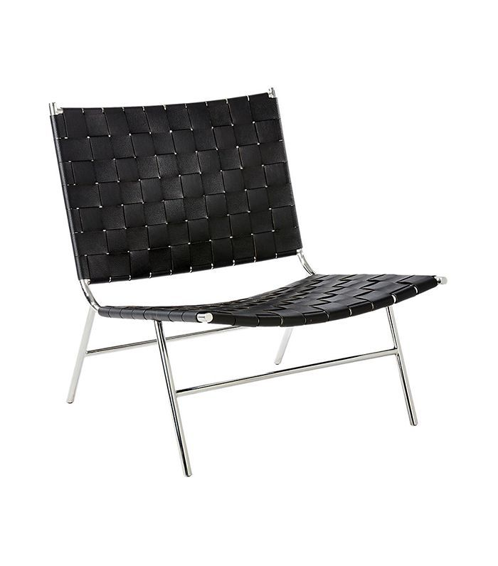 CB2 Black Woven Leather Chair