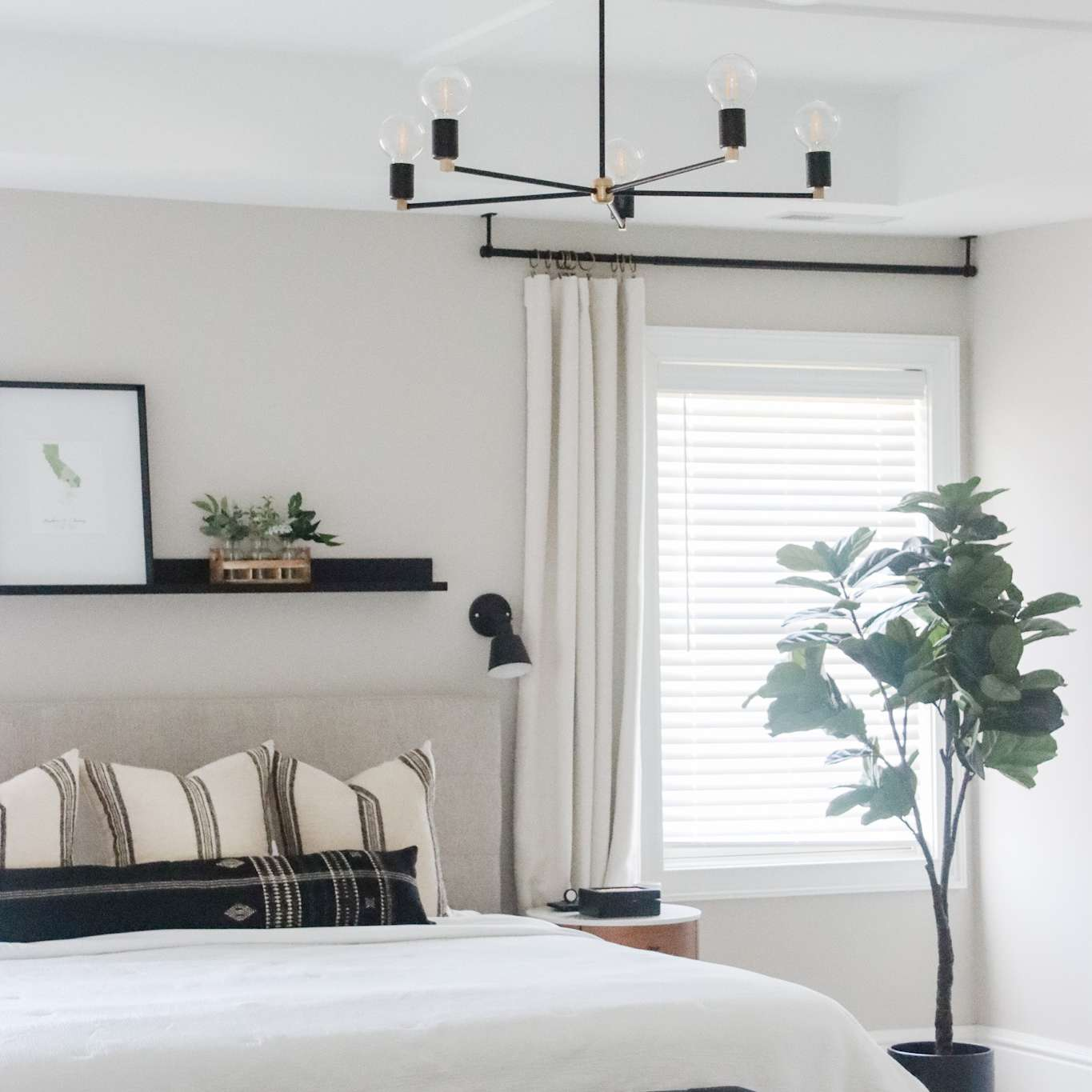 Coffered ceiling with a chandelier