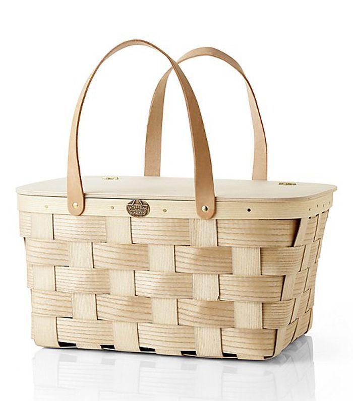 Crate & Barrel Leather-Handled Picnic Basket - Crate and Barrel