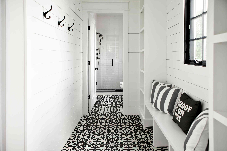 black and white halllway