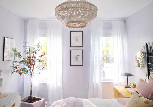 Modern minimalist light purple bedroom