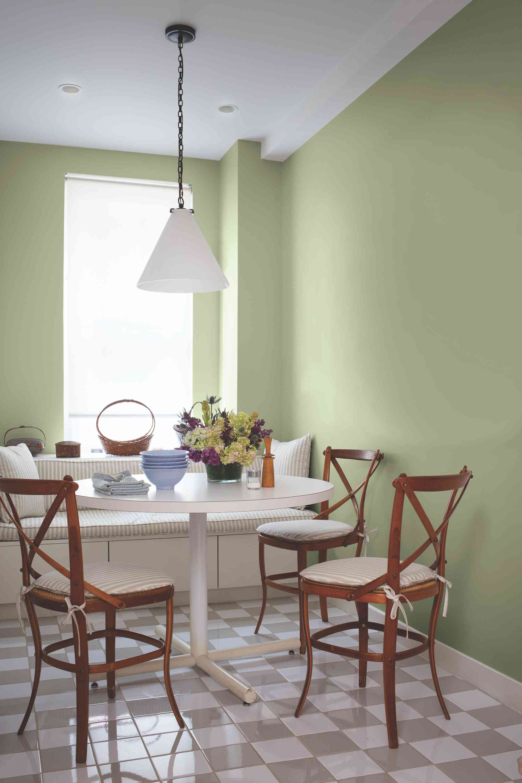 Dining nook painted Olive Sprig.