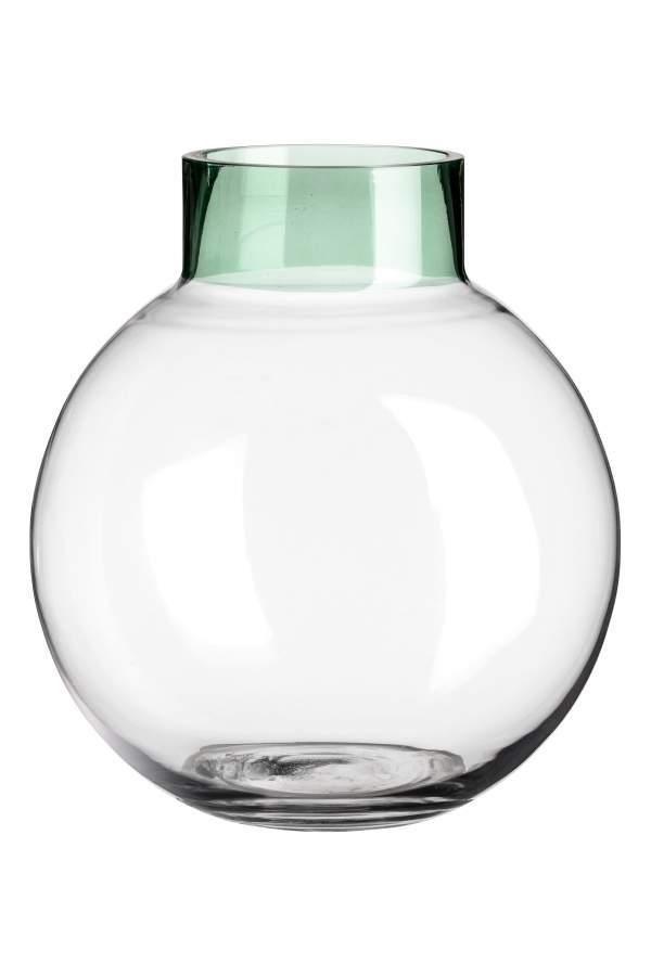 - Round Glass Vase - Transparent/green - H & m Home