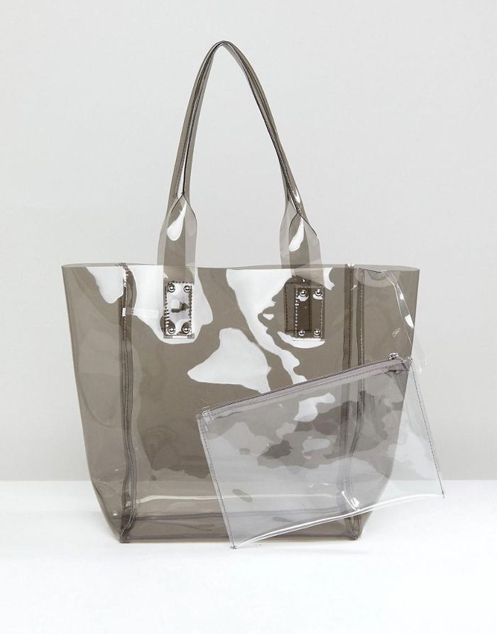 Clear Gray Jelly Tote with Wristlet Clutch