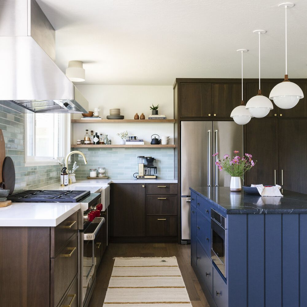 Blue and brown kitchen