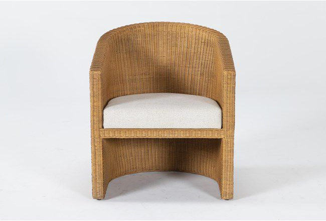 Natural Curved Woven Accent Chair