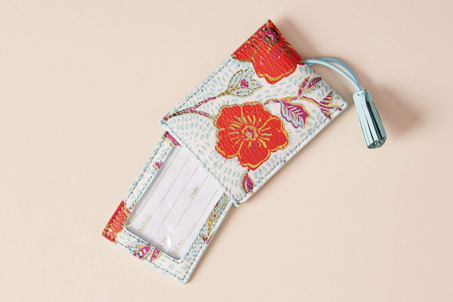 Bright Elodie luggage tag from Anthropologie