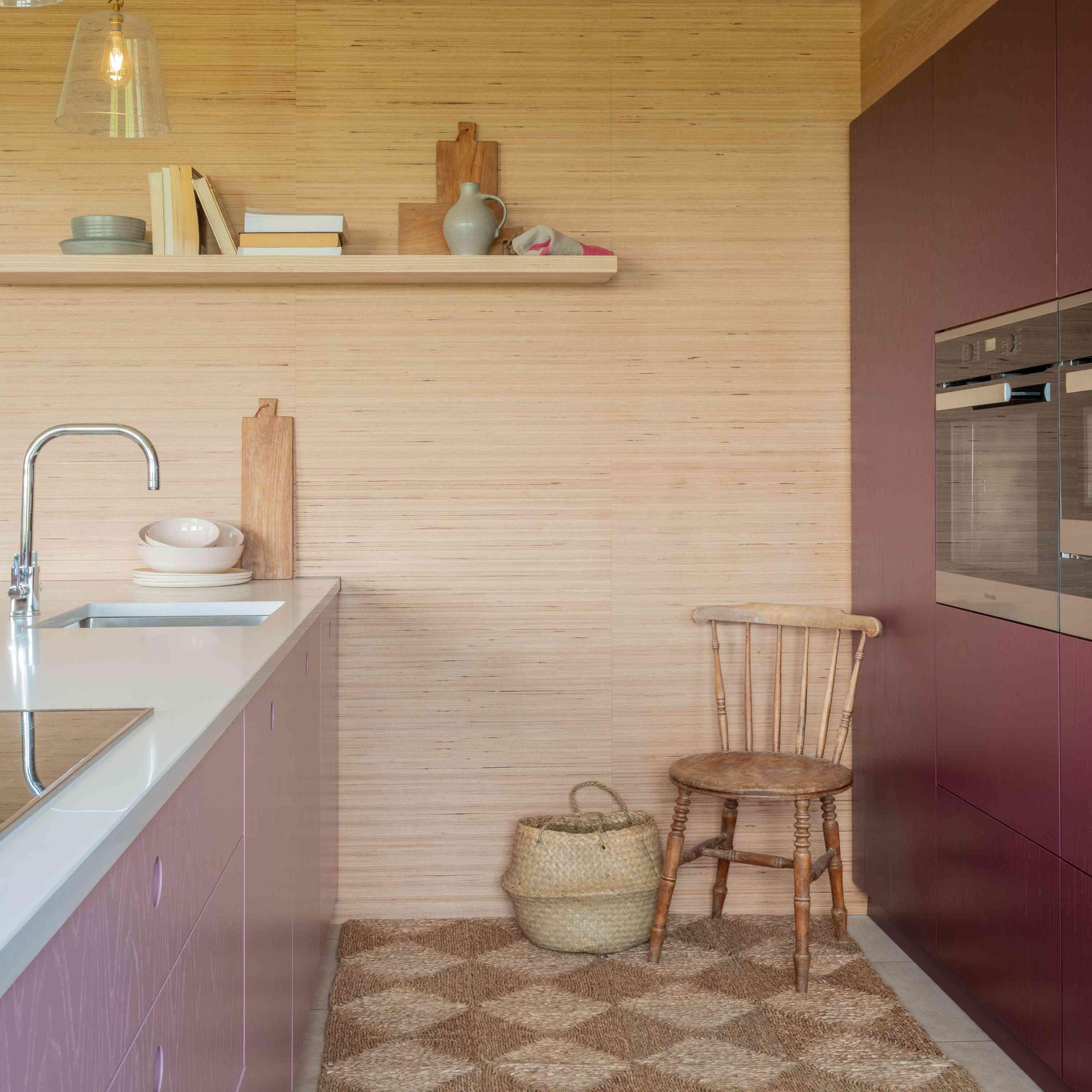 checkerboard kitchen rug in mauve kitchen