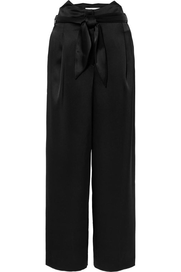Marie Belted Satin Wide-leg Pants