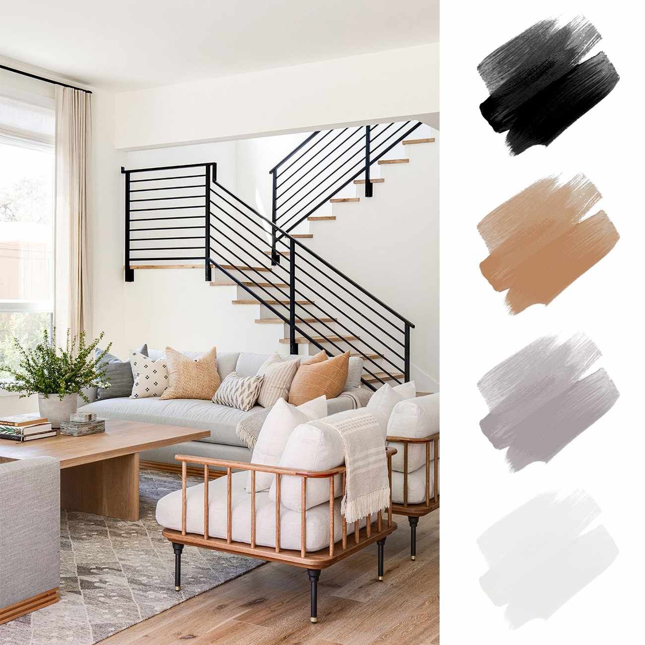 neutral color palette - black, wood tone, gray and soft white