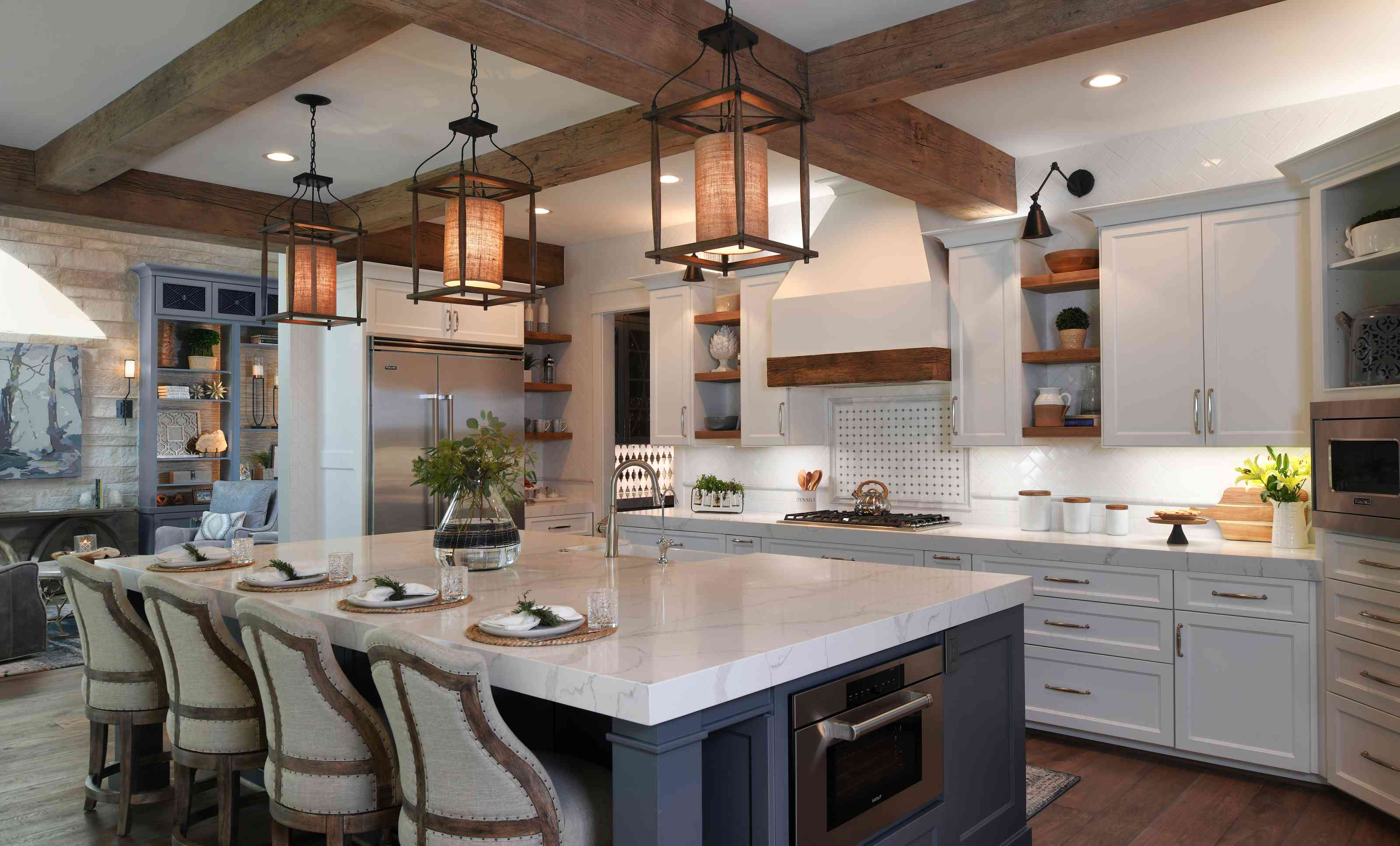 Kitchen with wooden beams
