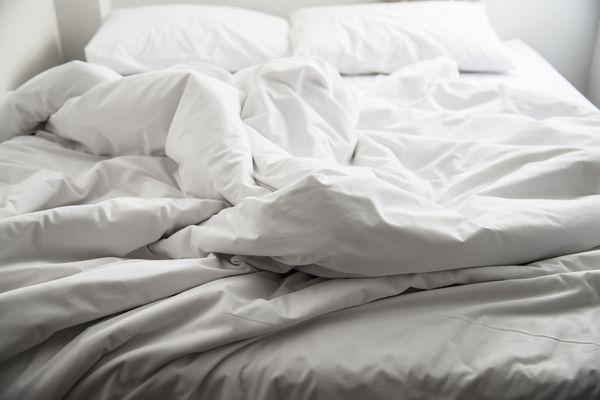 fluffy white bedding