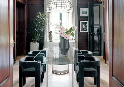 CB2 2021 Design Trends —traditional and modern dining room with lucite table