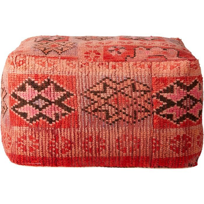 CB2 Moroccan Pink/Red Vintage Pouf/Floor Cushion