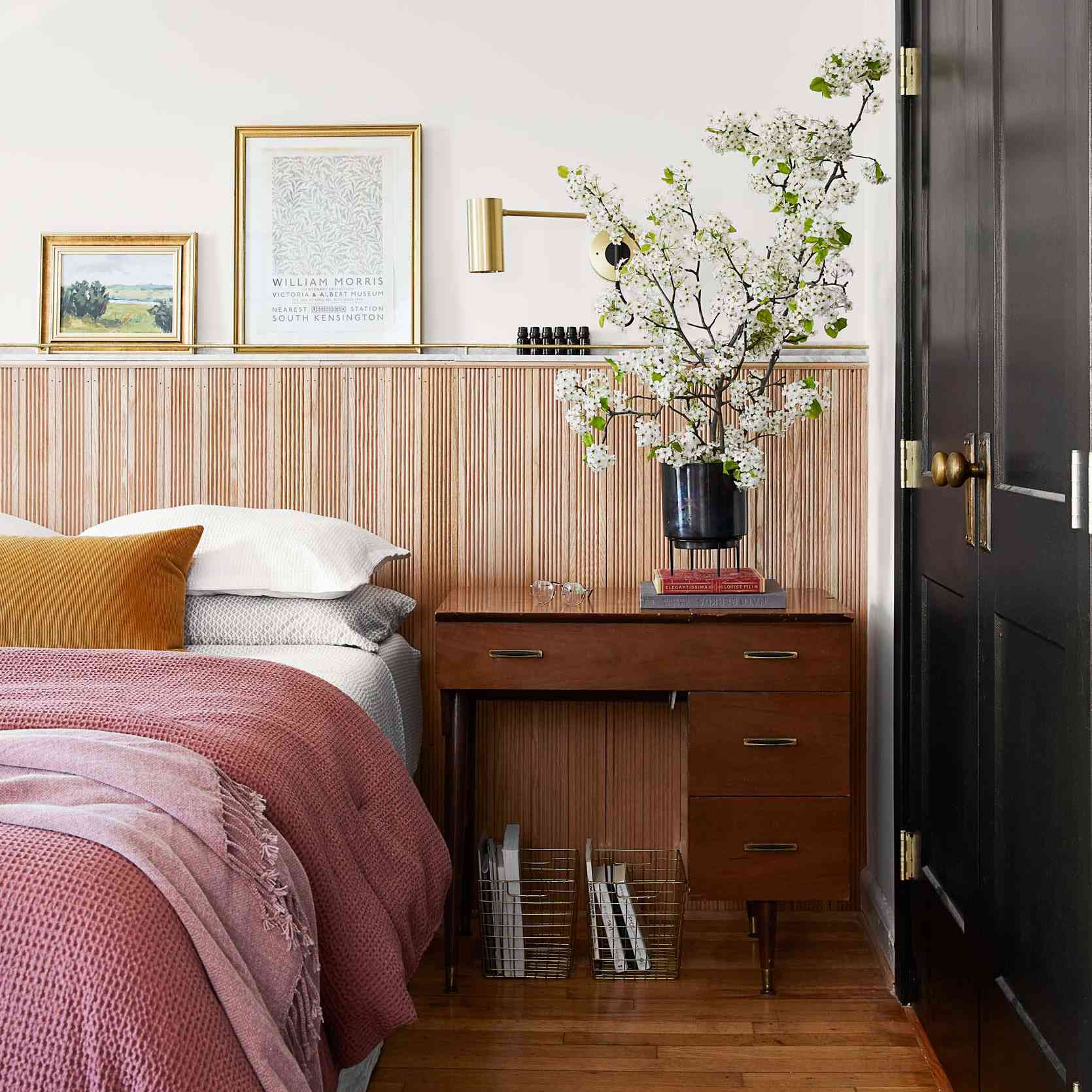Modern bedroom with mixed wood tones