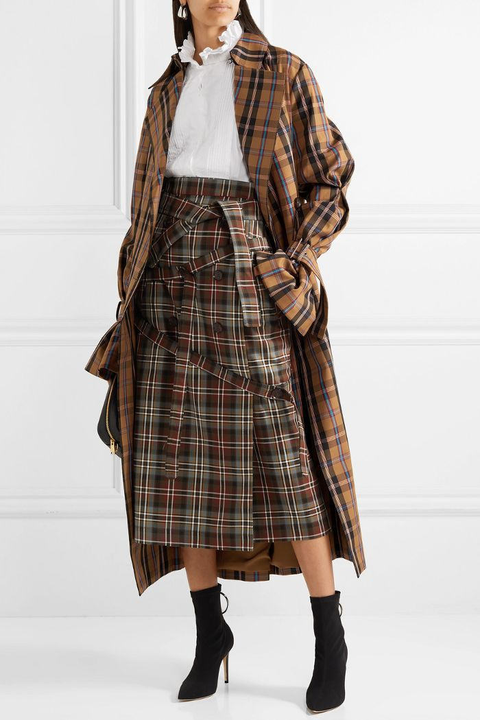Oversized Tartan Gabardine Trench Coat