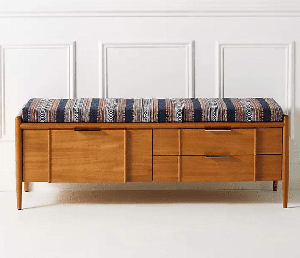 A storage bench, currently for sale at Anthropologie