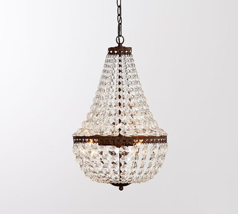 A chandelier, currently for sale at Pottery Barn