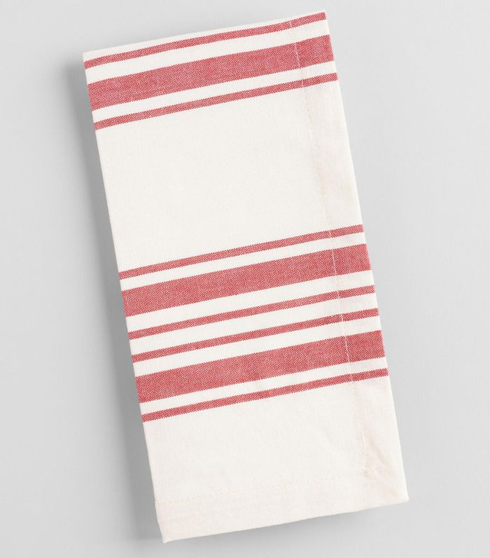 Red Villa Stripe Napkins Set of 4 - Cotton by World Market