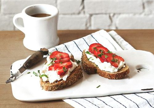 Strawberry Basil and Ricotta Tartines