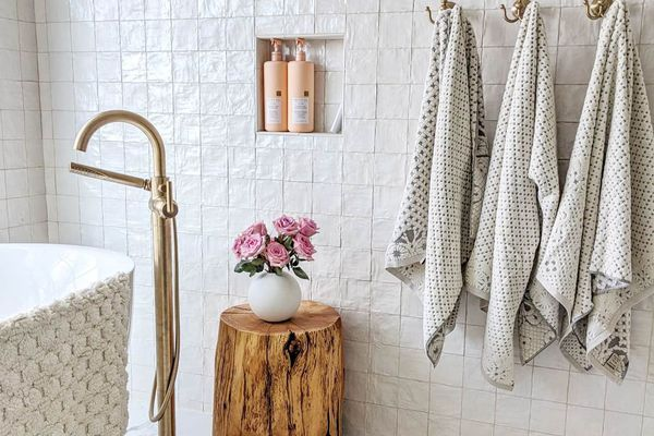 white bathroom with towels