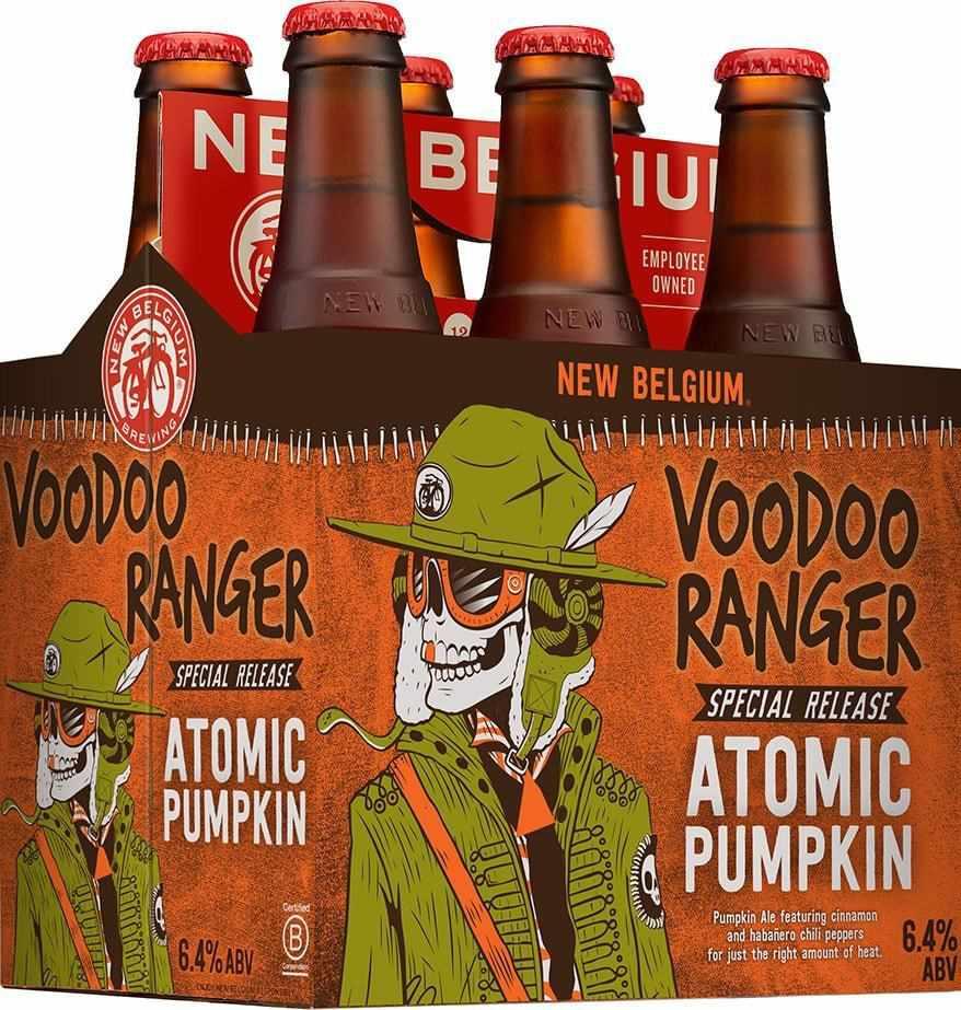 Bottles of pumpkin beer.