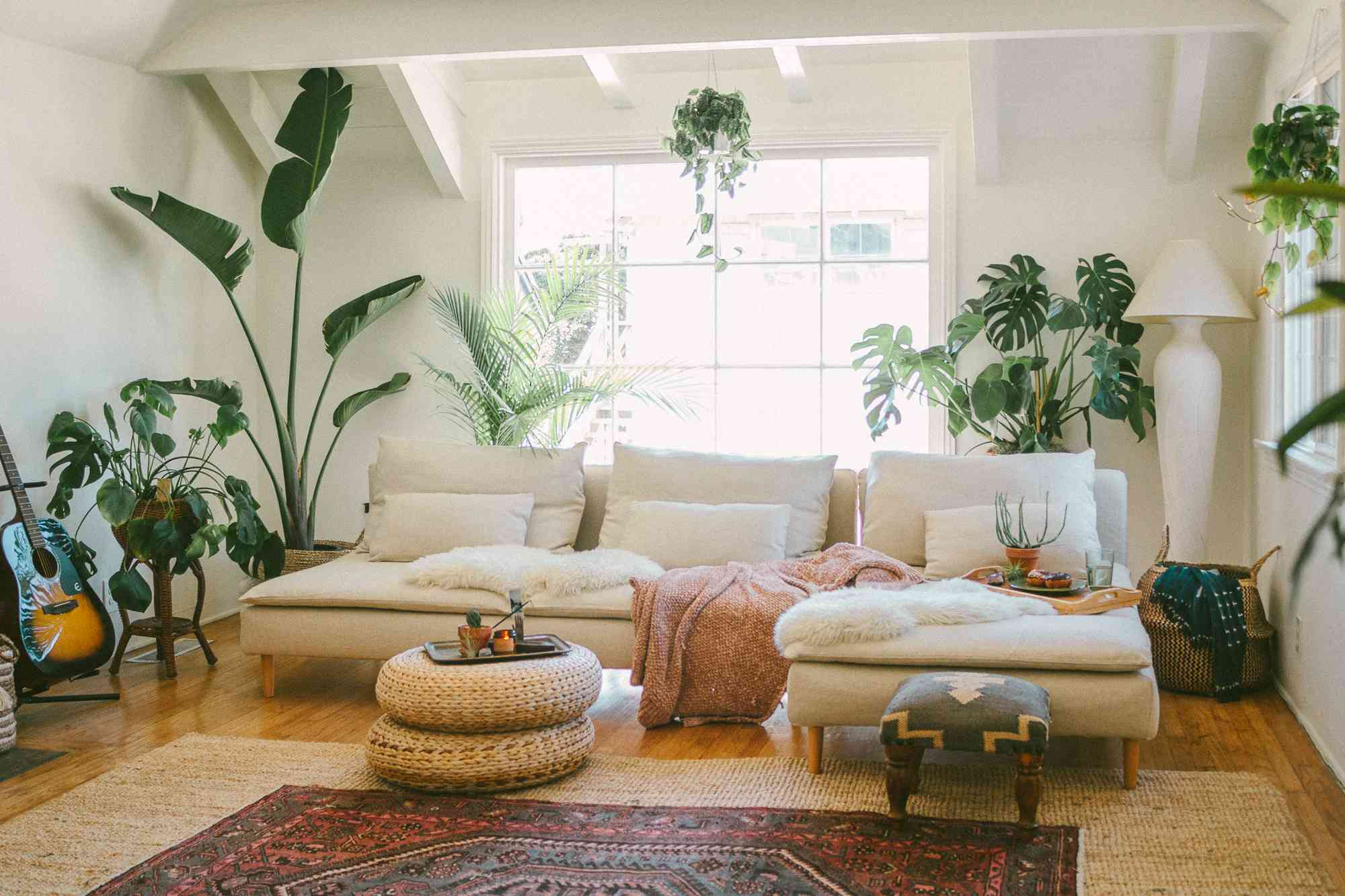 Cozy rental living room with blankets