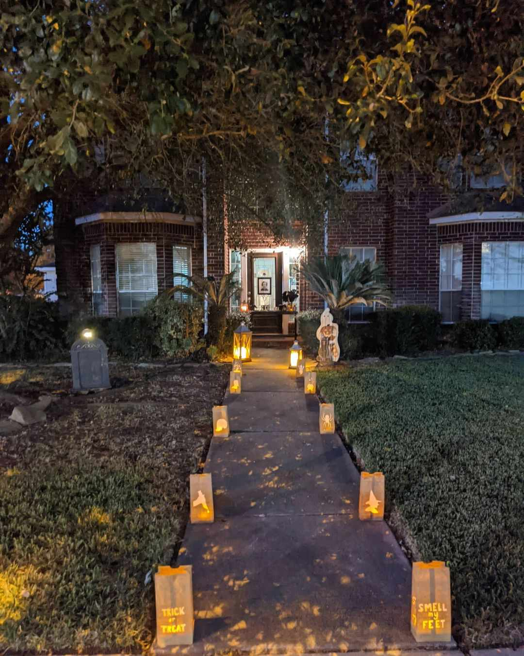 Lanterns outside of a home