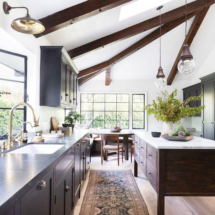 Wide plank white oak floor in kitchen
