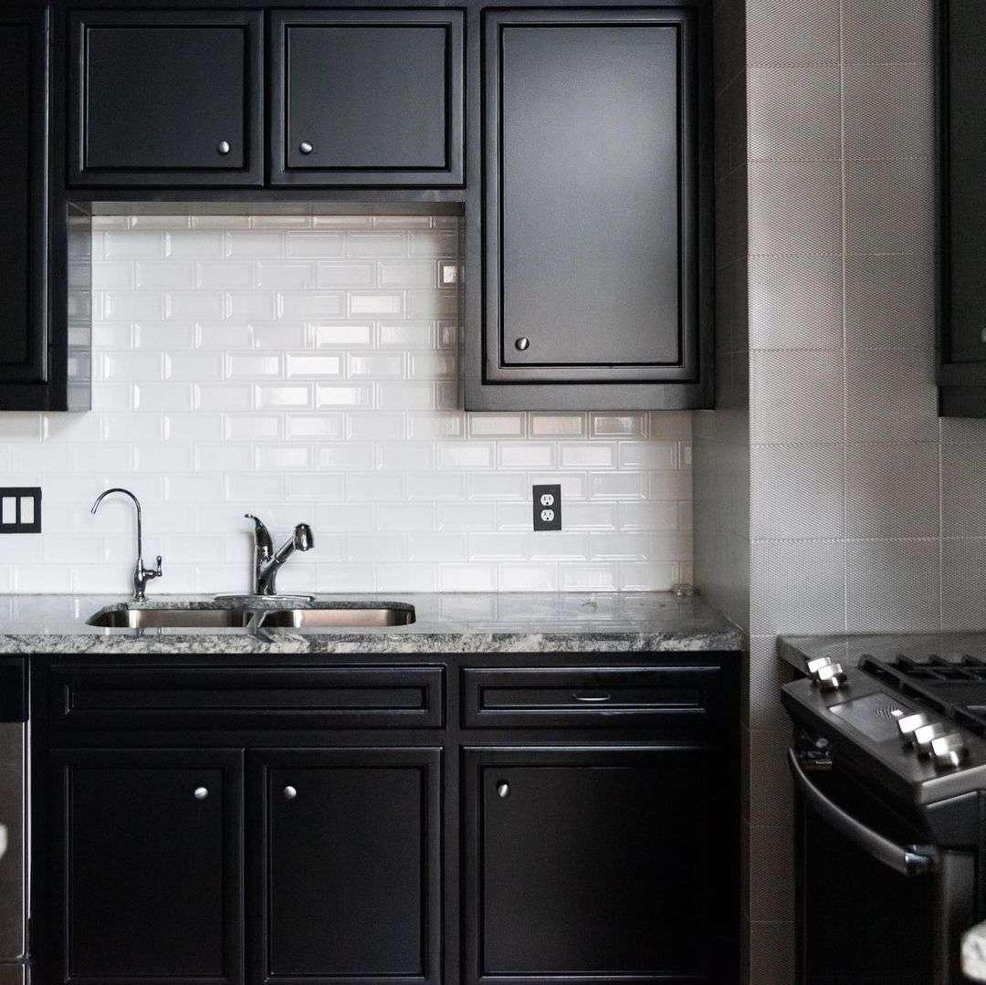 Black matte cabinets in kitchen