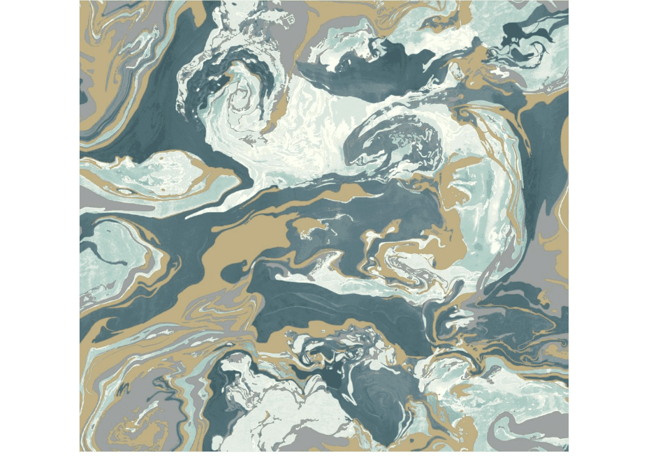 A blue and mustard-colored marbled wallpaper sample.