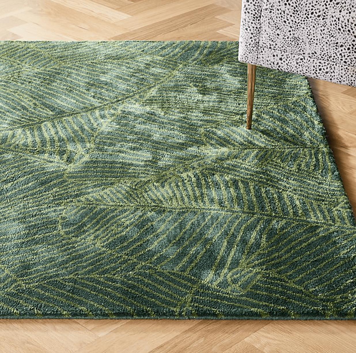 cb2 palm frond rug brooke