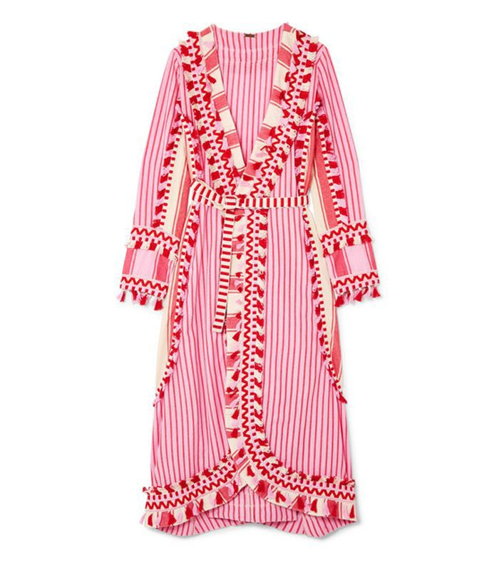 Tasseled Striped Cotton-gauze Wrap Dress