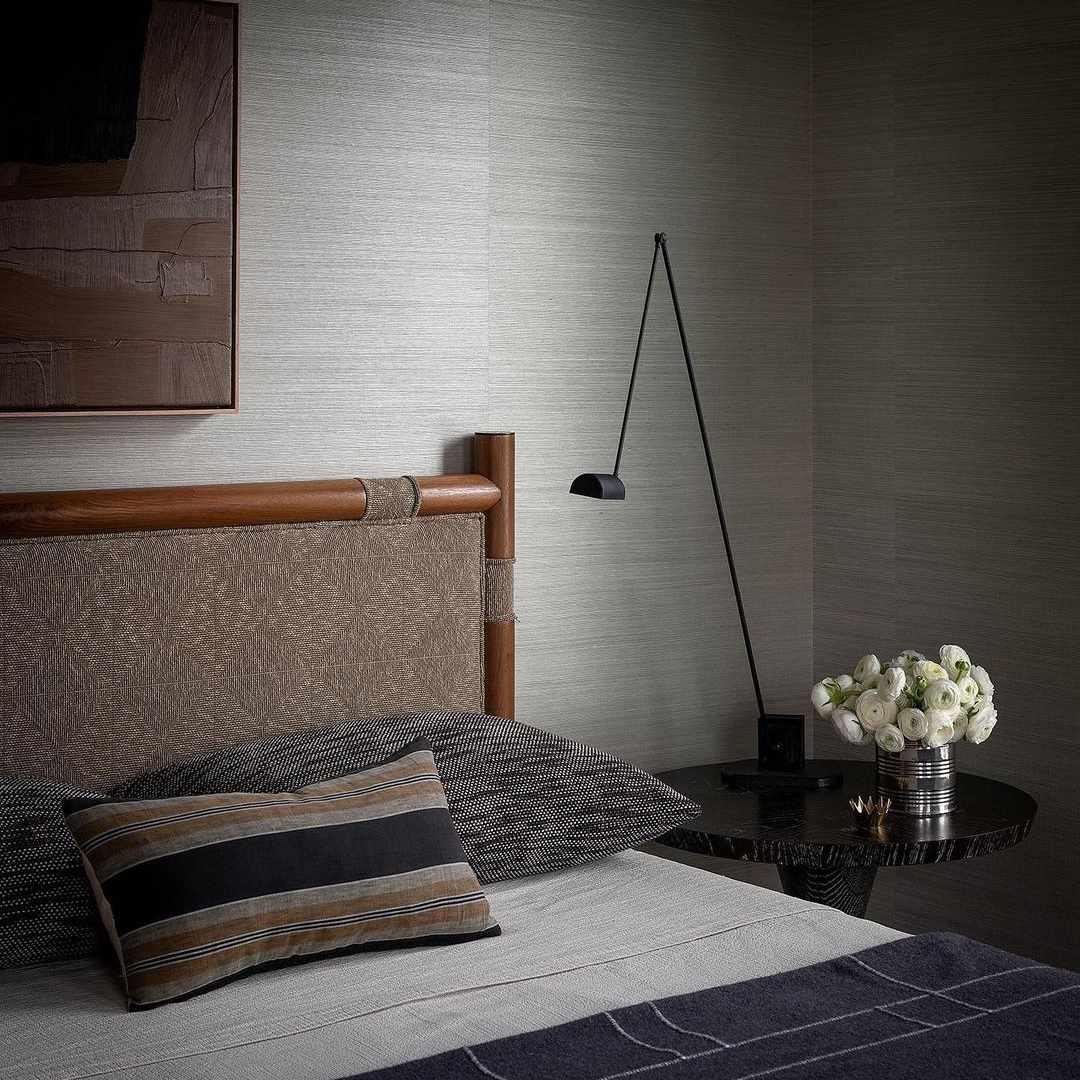 Bedroom with gray wallpaper