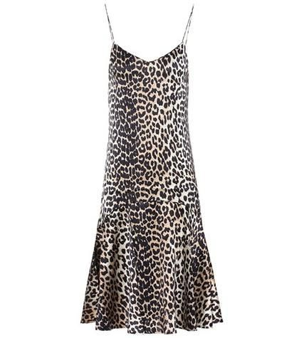 Ganni Dufort Leopard-Printed Silk Slip Dress