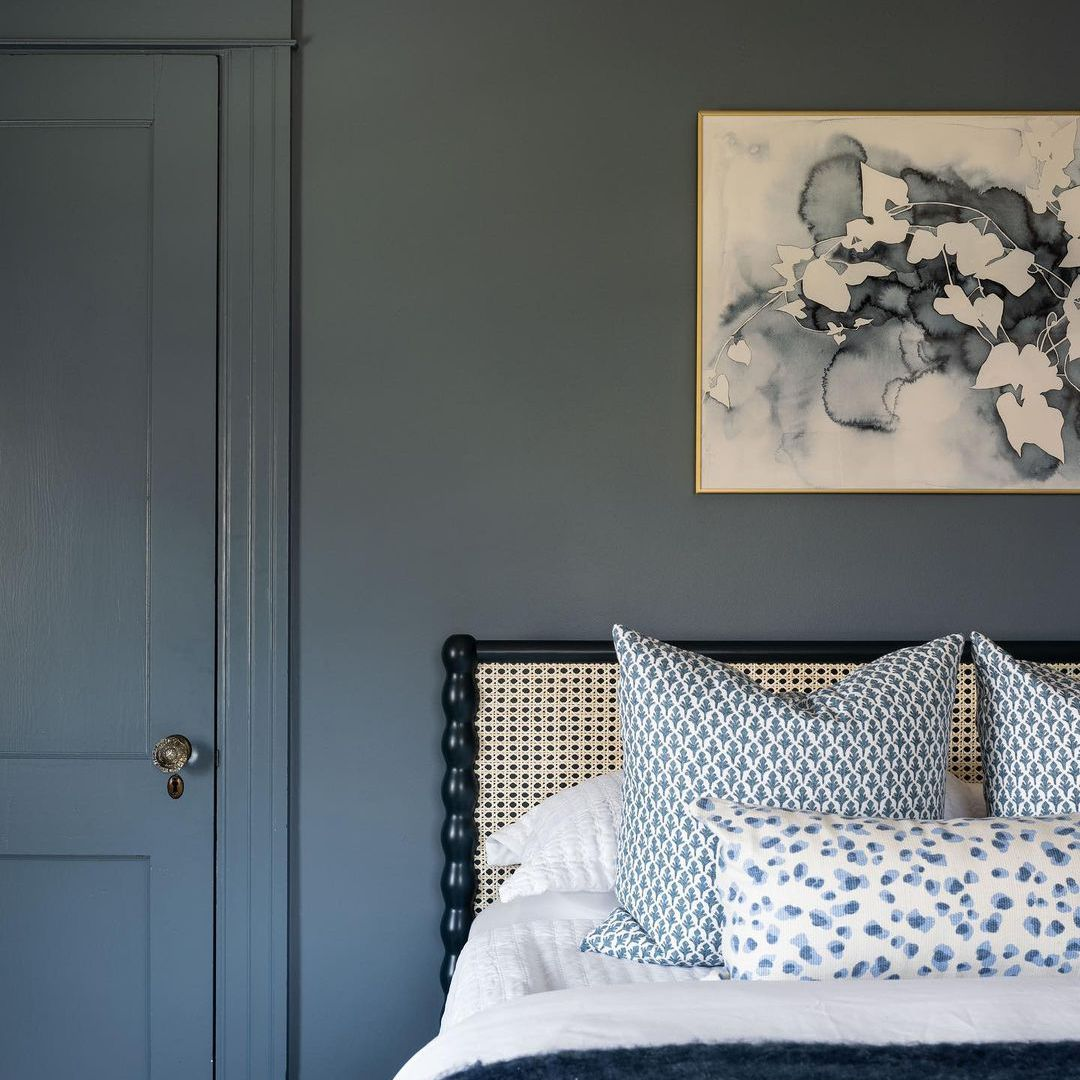 Bed with navy blue paint