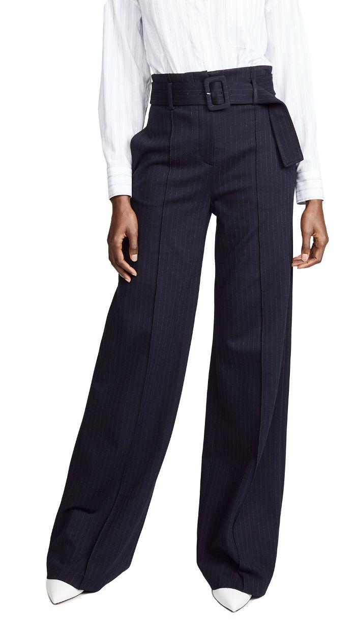 High Waisted Pinstripe Belt Pants