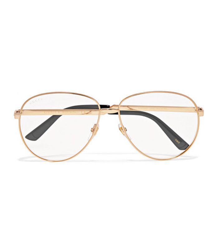 Aviator-style Gold-tone Optical Glasses