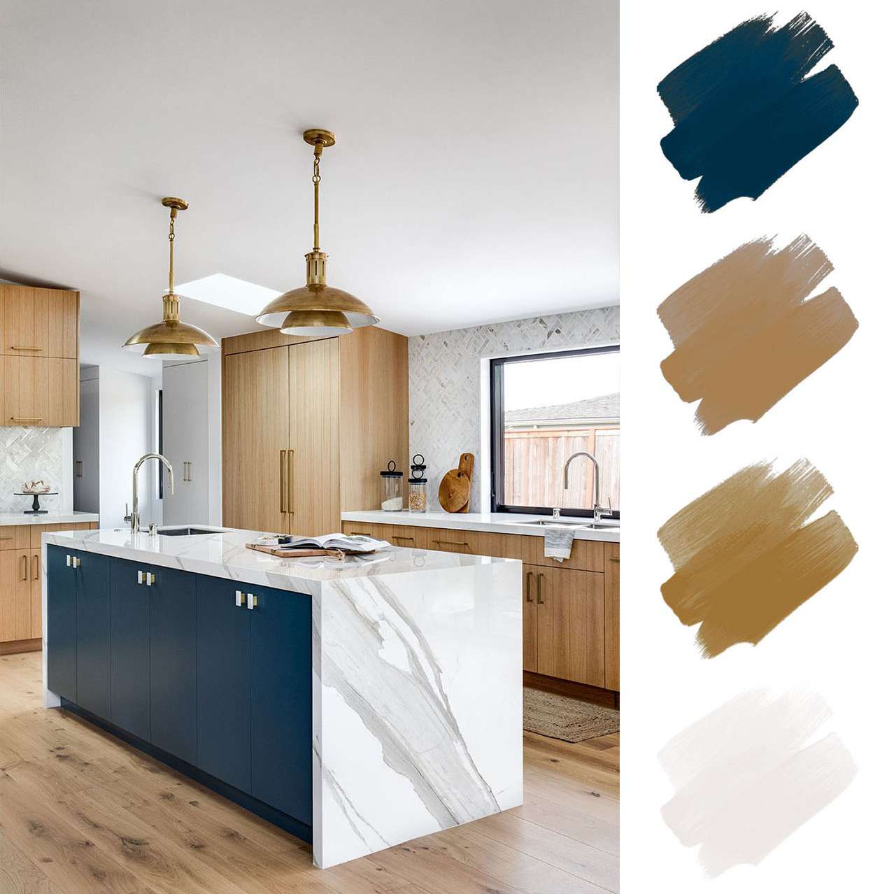 kitchen color schemes - wood and white