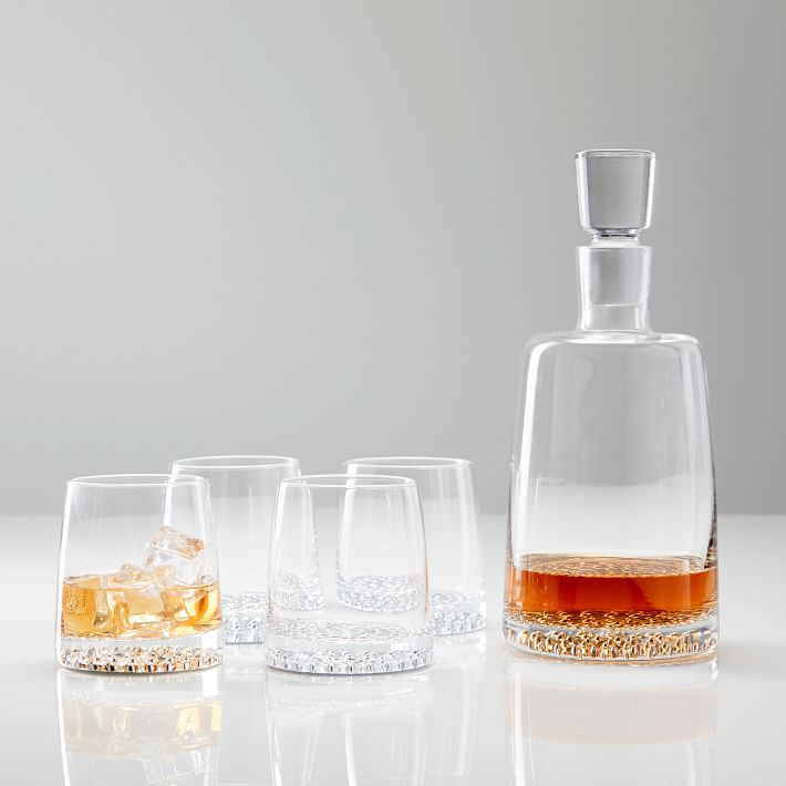 Metallic Base Decanter and Glassware Set
