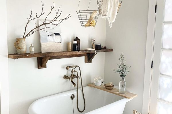 Farmhouse bathroom with large tub.