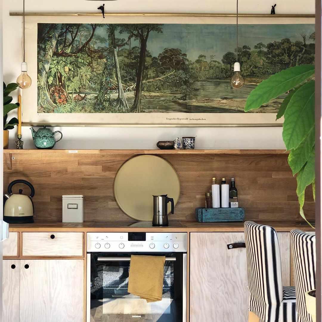 Mid century modern, wooden kitchen