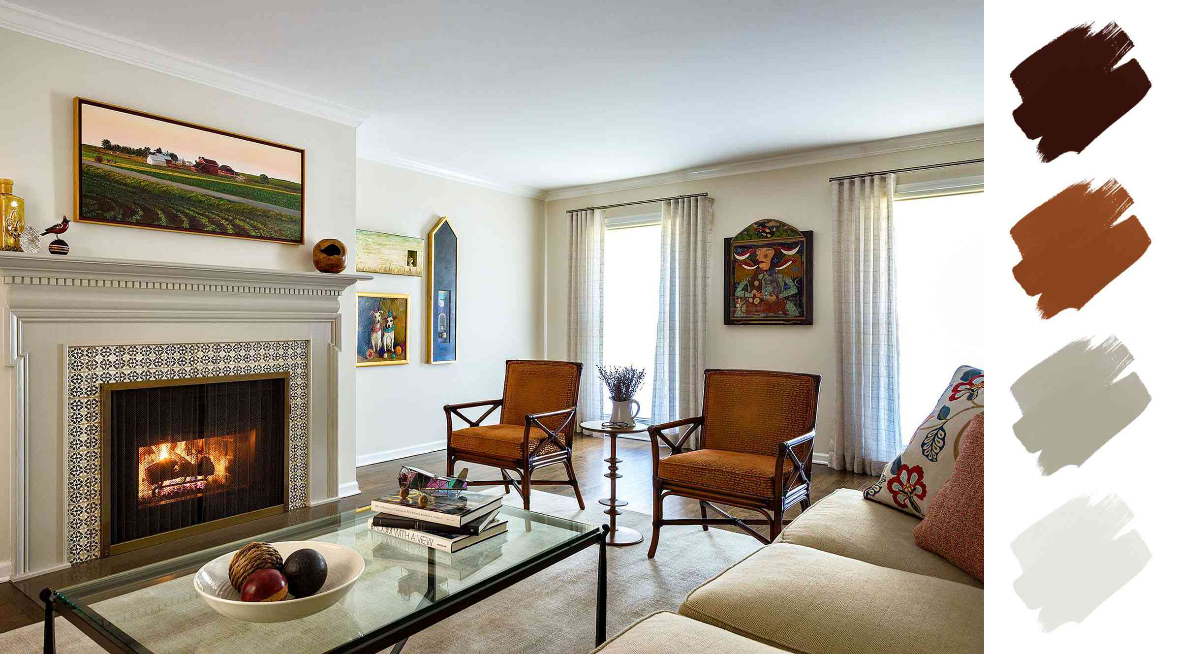 best home color schemes - umber and greige living room