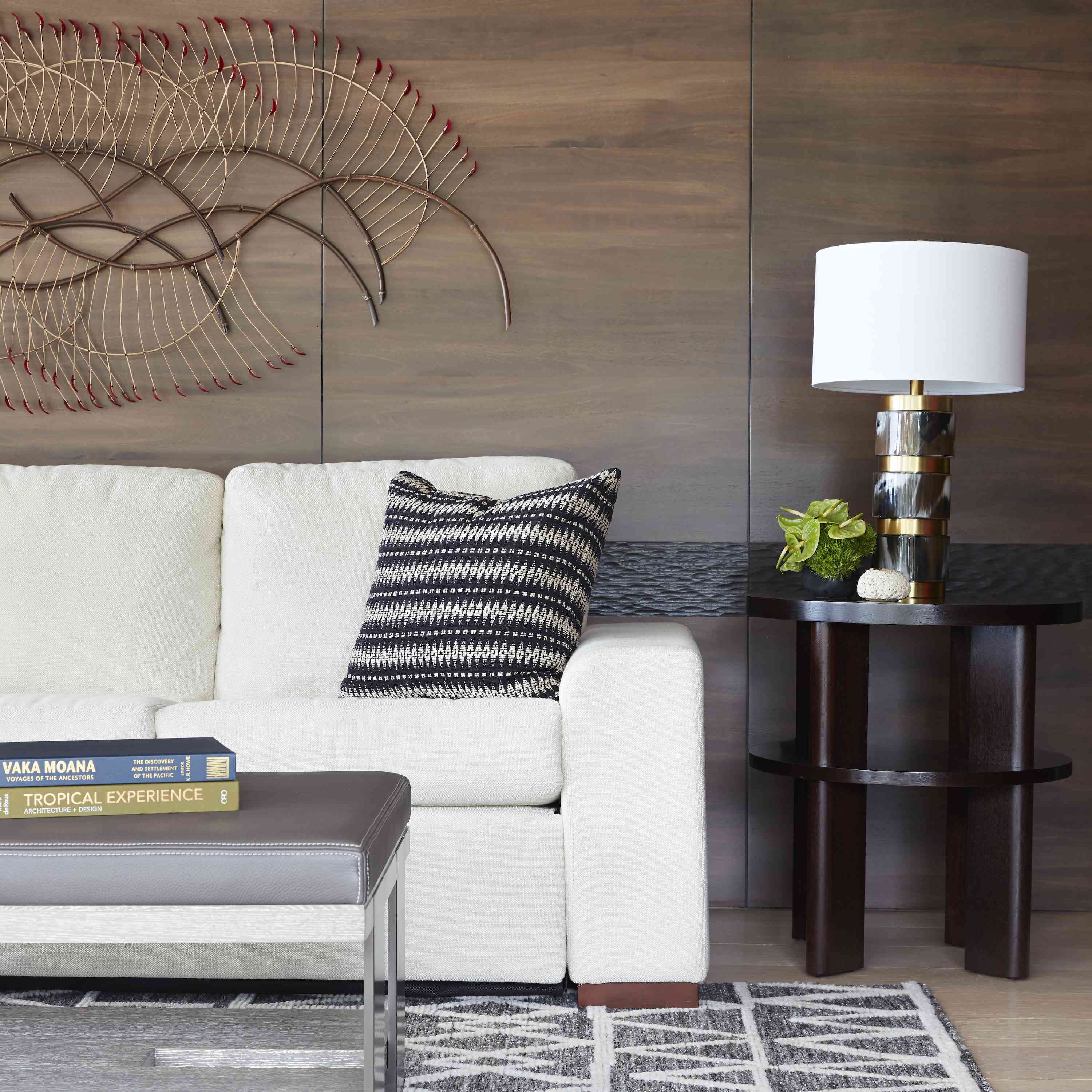 Wood white couch living room idea