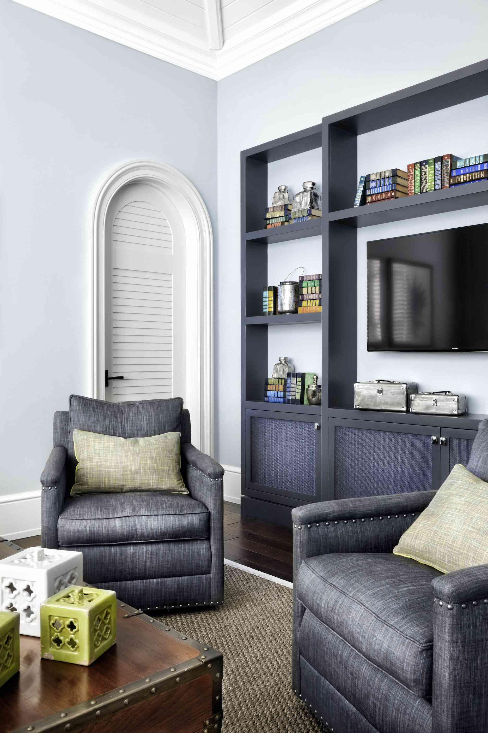 Blue hued living room