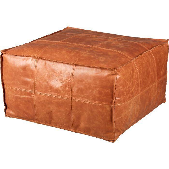 CB2 Medium Square Leather Ottoman-Pour