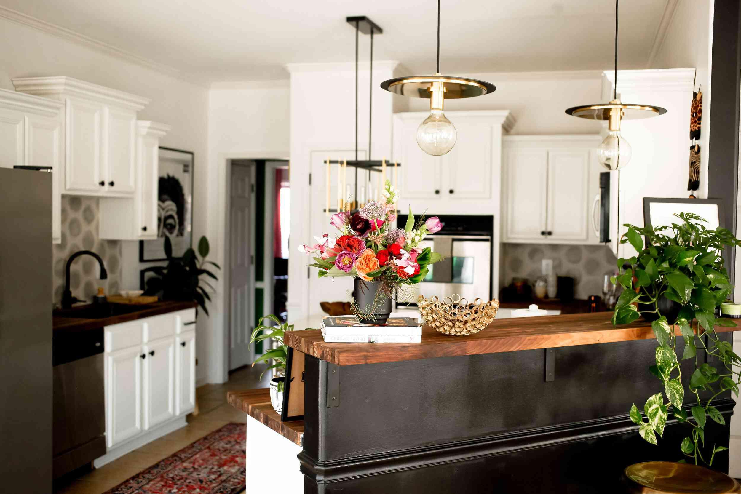 Modern kitchen with vintage style minimal pendant lights