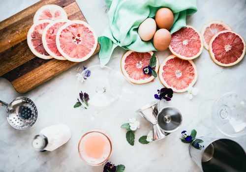 An egg white cocktail called, Grapefruit Pisco Sour With Orange Bitters.