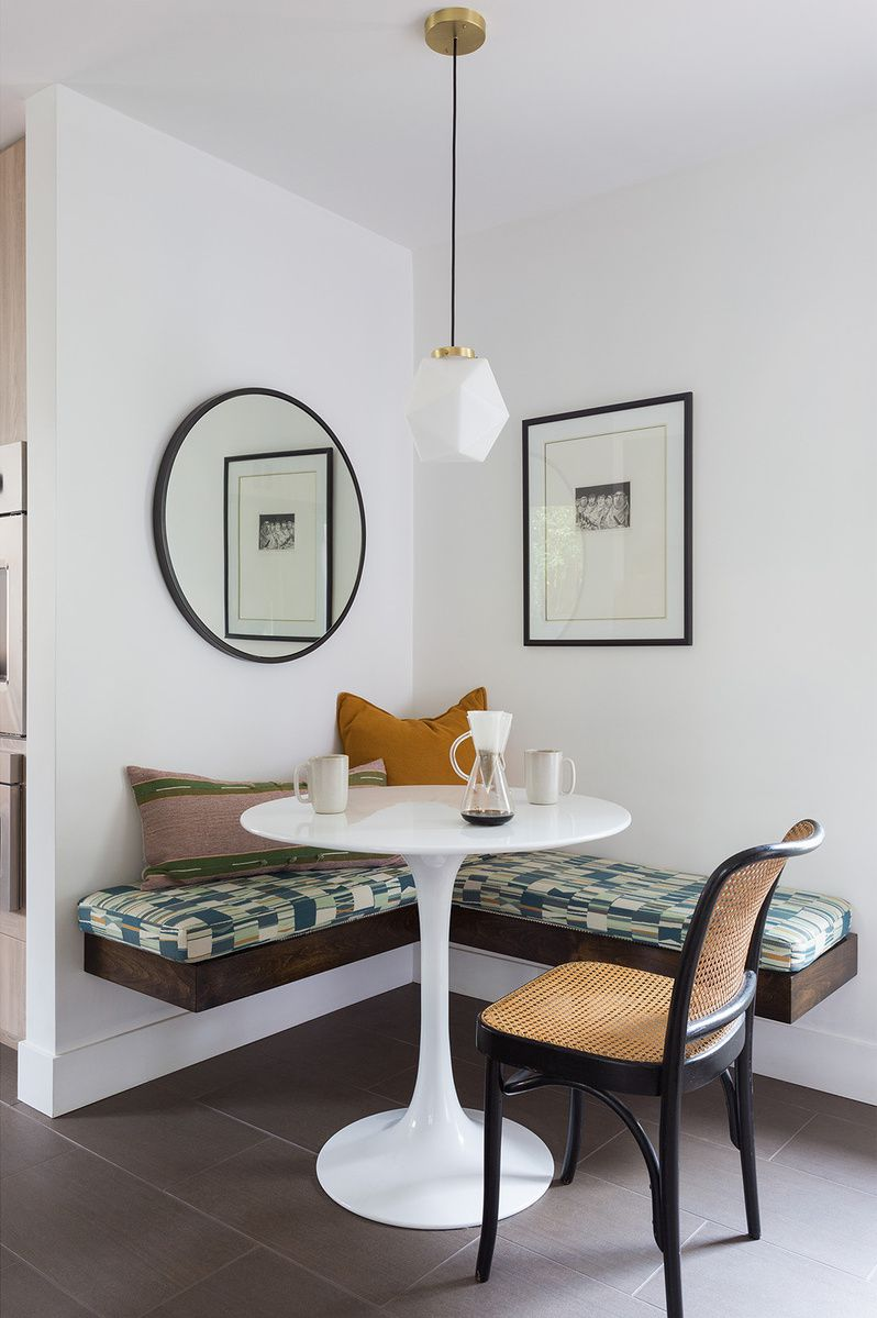 Breakfast nook with floating bench