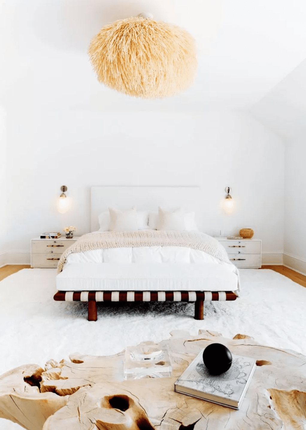 Modern boho bedroom with soft textures